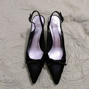 Stuart Weitzman black slingback pointed toe shoes